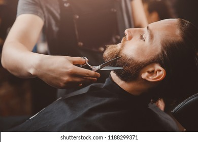 Barber beard styling and cut process. Barbershop for men.