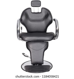 Barber chair, black leather, front view isolated. Barber shop chair.