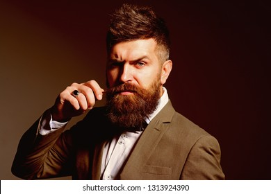 The barber for life. Man with long beard in business wear. Bearded man after barber shop. Business as usual. Mens fashion. Im just excited to be in the fashion business.
