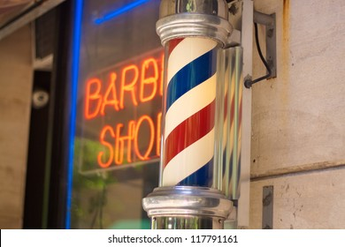 barber pole Pole of the barber shops of Upper West Side New York city.