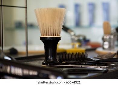 Barber salon. Hair cutting equipment