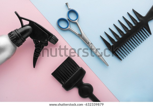 Barber set with tools and equipment on bright paper background