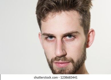 Barber shop. Man in morning after wakeup. Bearded man needs beard barber. Personal grooming and morning routine. Mens hair grooming. Will the beard stay in fashion.