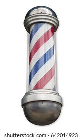 barber shop retro sign red white and blue spiral rotating cylinder