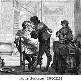 A Barber shop seventeenth century, vintage engraved illustration. Magasin Pittoresque 1878.