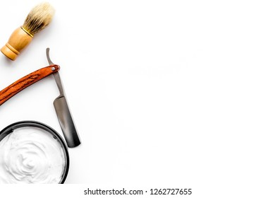 barber workspace in barbershop with equipment white background top view space for text