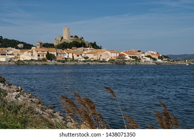Barberousse tower in Gruissan seen from across the lake