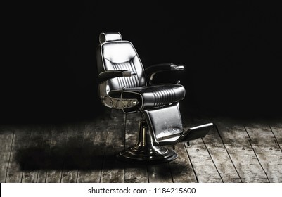 Barbershop armchair, modern hairdresser and hair salon, barber shop for men. Stylish vintage barber chair. Black and white.