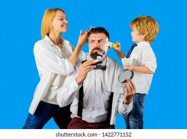 Barbershop. Barber shop tools. Hairdresser making hairstyle. Beard care. Woman hairdresser. Hair preparation. Fashion. Serious bearded man in barbershop. Coiffeur making hairstyle. Scissors.
