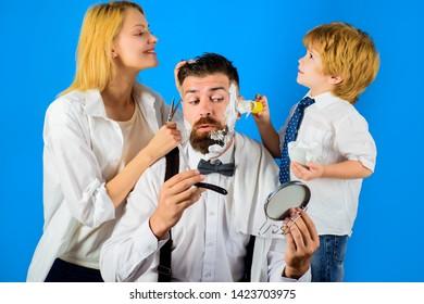 Barbershop. Barber shop tools. Hairdresser making hairstyle. Beard care. Hair preparation. Fashion. Bearded man in barbershop. Coiffeur making hairstyle. Hipster.