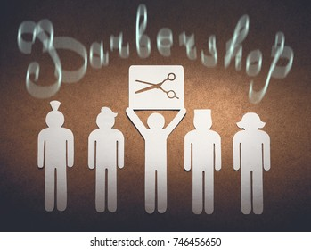 Barbershop concept. Cut out of white paper little men illustrate the skill of the hairdresser to model different haircuts.