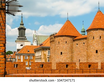 Barbican fortress in the historic center of Warsaw. Old Town or Stare Miasto, Warsaw, Poland