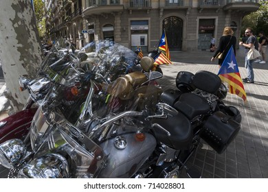 Barcelona, 11th of September 2017, Spain: Chopper motorcycles with Senyera- traditional catalan flag of Separatists