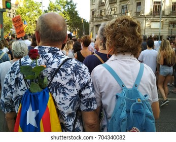 Barcelona, 26 August 2017: Protest against terrorism.