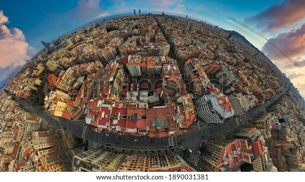 Barcelona. Aerial drone view of buildings in the city. Spain. Europe