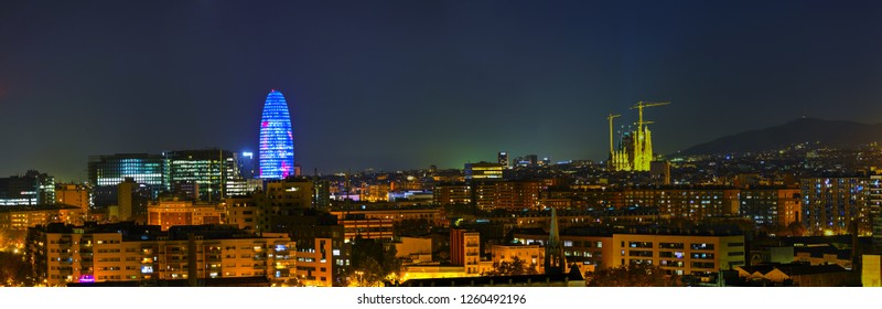 Barcelona aerial panoramic overview at the night time