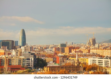 Barcelona aerial panoramic overview on a sunny day