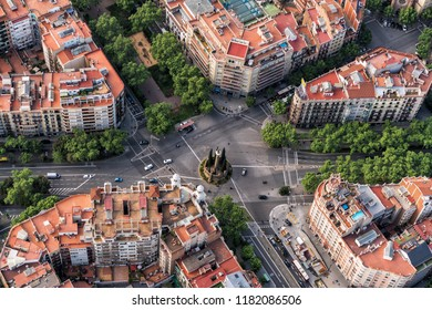 Barcelona aerial straight down camera , Eixample streets and buildings, Spain.