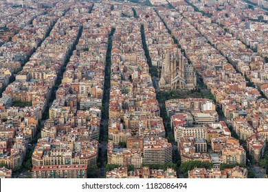 Barcelona aerial view, Eixample district with typical urban squares, Spain