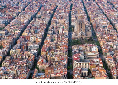 Barcelona aerial view, Eixample residencial district, Spain. Typical urban grid