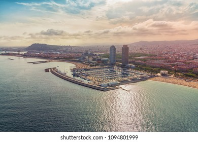 Barcelona aerial view of Port Olimpic and city skyline, Spain. Vintage colors
