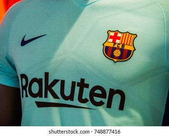 BARCELONA AIRPORT, BARCELONA, SPAIN - August 21, 2017: Close-up of  Barcelona Football Club's second official shirt, 2017-2018 season