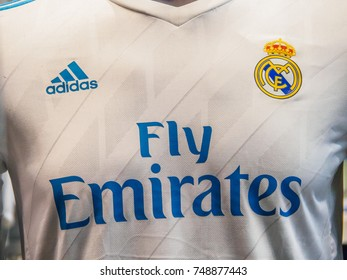 BARCELONA AIRPORT, BARCELONA, SPAIN - August 21, 2017:  Close-up of Real Madrid Football Club's official shirt, 2017-2018 season