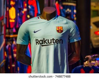 BARCELONA AIRPORT, BARCELONA, SPAIN - August 21, 2017: Medium shot of  Barcelona Football Club's official shirt, 2017-2018 season