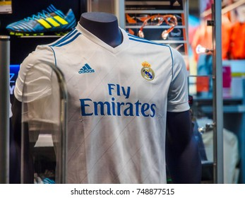 BARCELONA AIRPORT, BARCELONA, SPAIN - August 21, 2017: Medium shot of Real Madrid Football Club's official shirt, 2017-2018 season