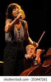 BARCELONA - APR 10: Esperanza Spalding (band) performs at Auditori on April 10, 2011 in Barcelona, Spain.