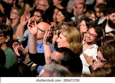 BARCELONA - APR 16: Crowd in a concert at Luz de Gas club on April 16, 2015 in Barcelona, Spain.