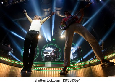 BARCELONA - APR 16: Lukas Graham (band) perform in concert at Apolo on April 16, 2019 in Barcelona, Spain.