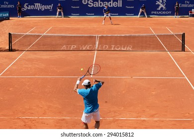 BARCELONA - APR 18: Jaume Munar (Spanish tennis player) plays at the ATP Barcelona Open Banc Sabadell Conde de Godo tournament on April 18, 2015 in Barcelona, Spain.