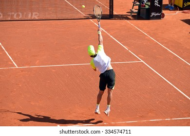 BARCELONA - APR 21: Teymuraz Gabashvili (tennis player from Russia) plays at the ATP Barcelona Open Banc Sabadell Conde de Godo tournament on April 21, 2015 in Barcelona, Spain.