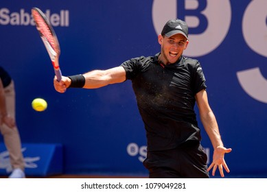 BARCELONA - APR 25: Dominic Thiem plays at the ATP Barcelona Open Banc Sabadell Conde de Godo tournament on April 25, 2018 in Barcelona, Spain.