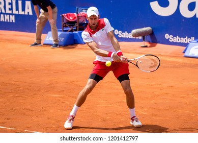 BARCELONA - APR 25: Novak Djokovic plays at the ATP Barcelona Open Banc Sabadell Conde de Godo tournament on April 25, 2018 in Barcelona, Spain.