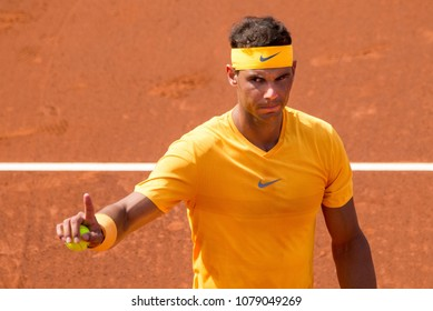 BARCELONA - APR 25: Rafa Nadal plays at the ATP Barcelona Open Banc Sabadell Conde de Godo tournament on April 25, 2018 in Barcelona, Spain.
