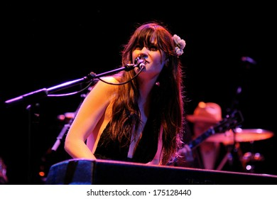 BARCELONA - APR 25: Zooey Deschanel, Hollywood Actress and singer, performs with her band She & Him at Apolo on April 25, 2010 in Barcelona, Spain. She perfoms with M. Ward.