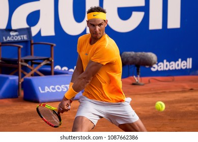 BARCELONA - APR 27: Rafael Nadal plays at the ATP Barcelona Open Banc Sabadell Conde de Godo tournament on April 27, 2018 in Barcelona, Spain.