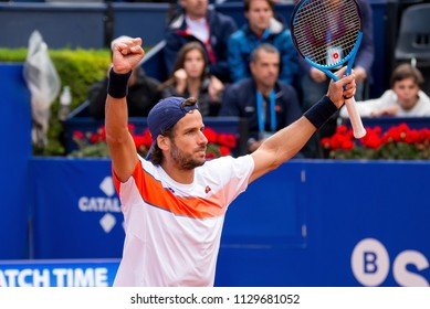 BARCELONA - APR 29: Feliciano Lopez celebrates the victory at the ATP Barcelona Open Banc Sabadell Conde de Godo tournament on April 29, 2018 in Barcelona, Spain.