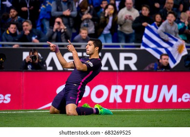 BARCELONA - APR 29: Luis Suarez celebrates a goal at the La Liga match between RCD Espanyol and FC Barcelona at RCDE Stadium on April 29, 2017 in Barcelona, Spain.