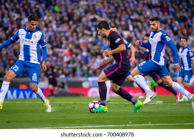 BARCELONA - APR 29: Luis Suarez plays at the La Liga match between RCD Espanyol and FC Barcelona at RCDE Stadium on April 29, 2017 in Barcelona, Spain.