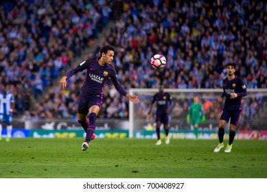 BARCELONA - APR 29: Neymar plays at the La Liga match between RCD Espanyol and FC Barcelona at RCDE Stadium on April 29, 2017 in Barcelona, Spain.