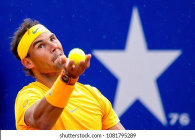 BARCELONA - APR 29: Rafa Nadal plays at the ATP Barcelona Open Banc Sabadell Conde de Godo tournament on April 29, 2018 in Barcelona, Spain.