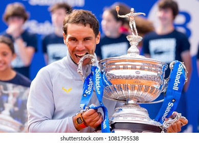 BARCELONA - APR 29: Rafa Nadal celebrates the victory at the ATP Barcelona Open Banc Sabadell Conde de Godo tournament on April 29, 2018 in Barcelona, Spain.