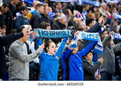 BARCELONA - APR 29: Supporters at the La Liga match between RCD Espanyol and FC Barcelona at RCDE Stadium on April 29, 2017 in Barcelona, Spain.