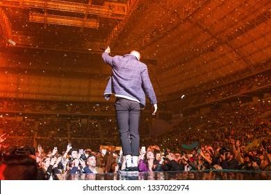 BARCELONA - APR 6: Imagine Dragons (pop music band) perform in concert at Palau Sant Jordi stage on April 6, 2018 in Barcelona, Spain.