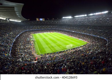 Barcelona April 05 - 2016: Camp Nou stadium on Champions league match between FC Barcelona and Atl�©tico Madrid, 2 - 1, on April 05, 2016, in Barcelona, Spain.