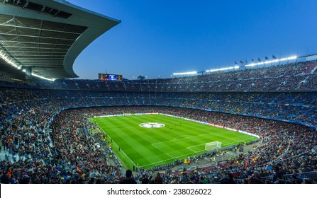BARCELONA - April 10 2013 : View of Camp Nou stadium before the Spanish Cup match between FC Barcelona and PSG, final score 1-1 , 2013, in Barcelona, Spain.