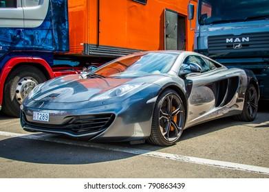 BARCELONA, APRIL 2015: McLaren car in Circuit de Barcelona, Catalonia, Spain.